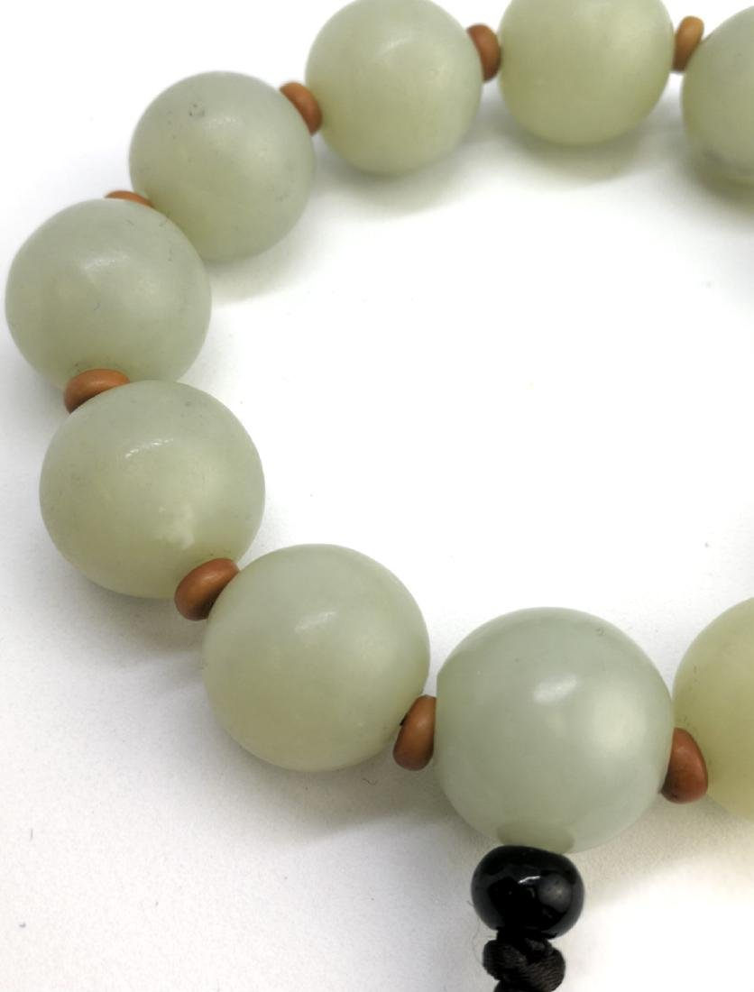 chinese white jade beads bracelet - 4