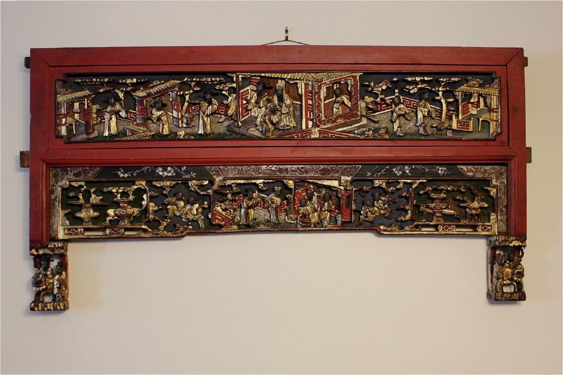 chinese gilt wood carved cinnabar panel