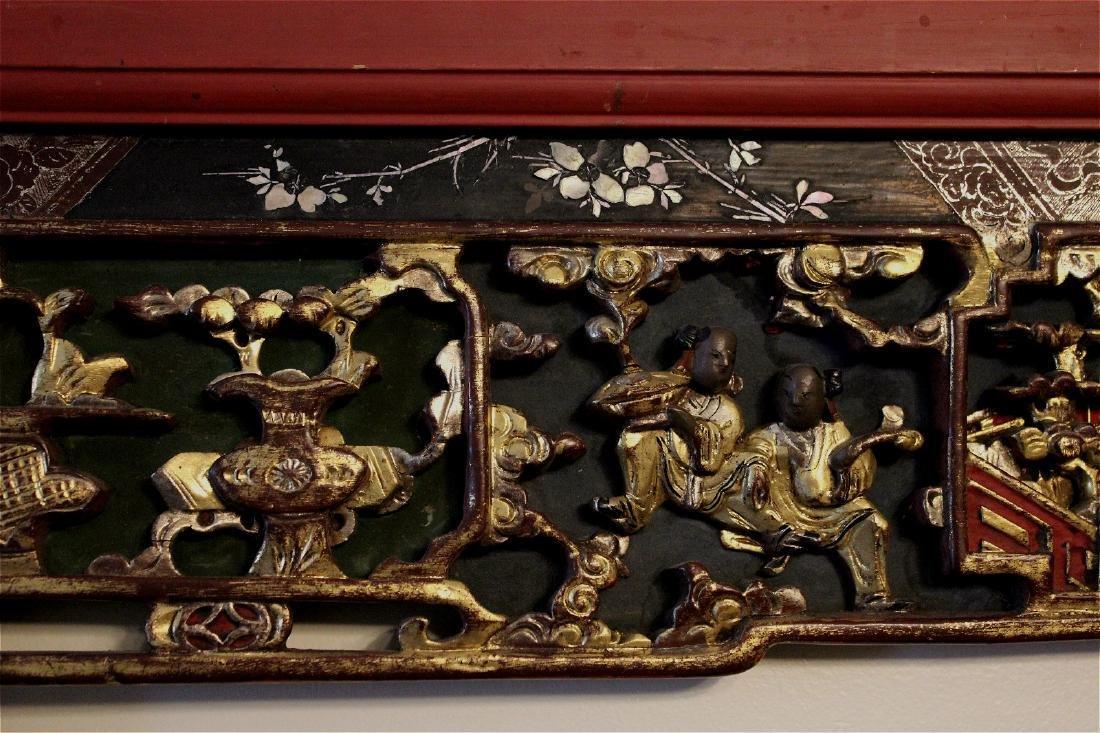 chinese gilt wood carved cinnabar panel - 2