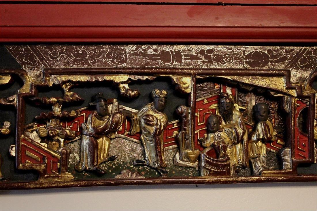 chinese gilt wood carved cinnabar panel - 3
