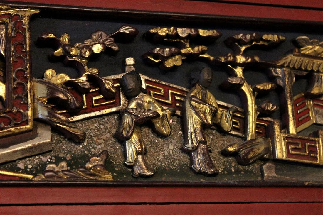 chinese gilt wood carved cinnabar panel - 4