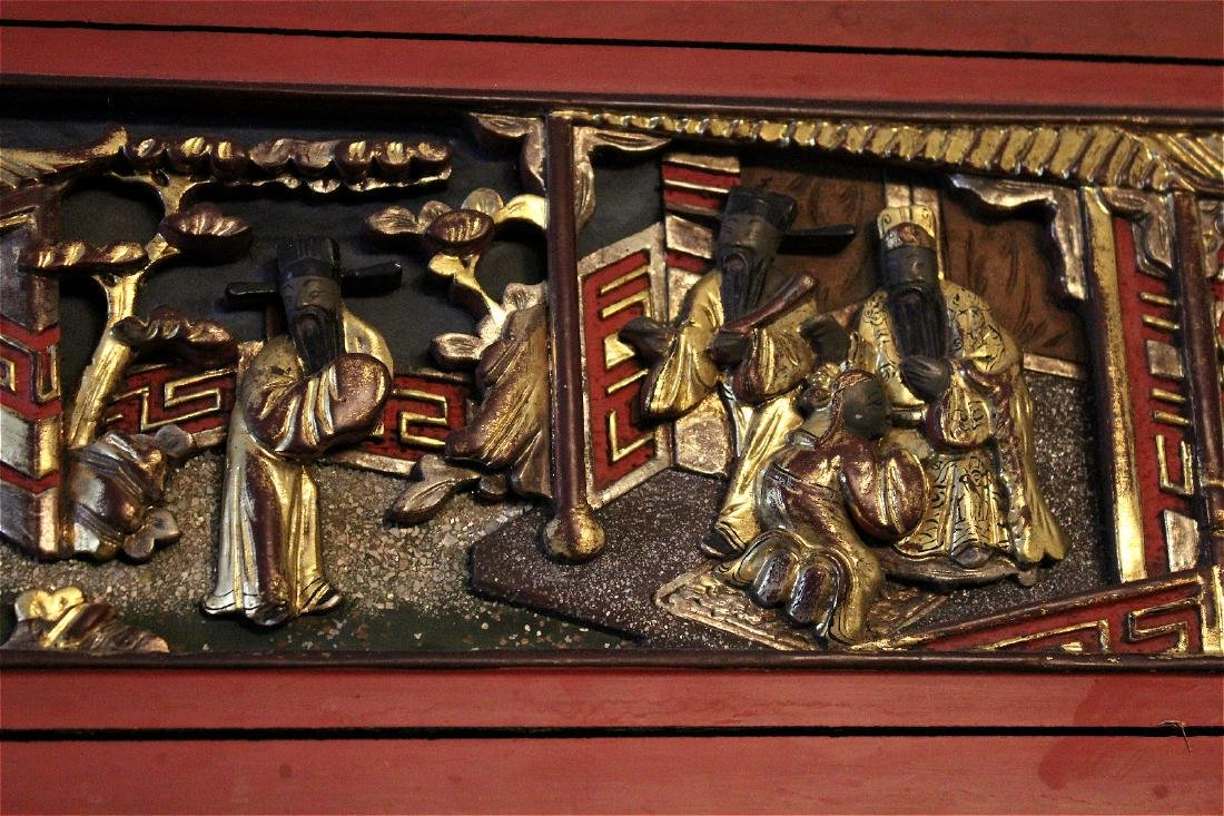 chinese gilt wood carved cinnabar panel - 5