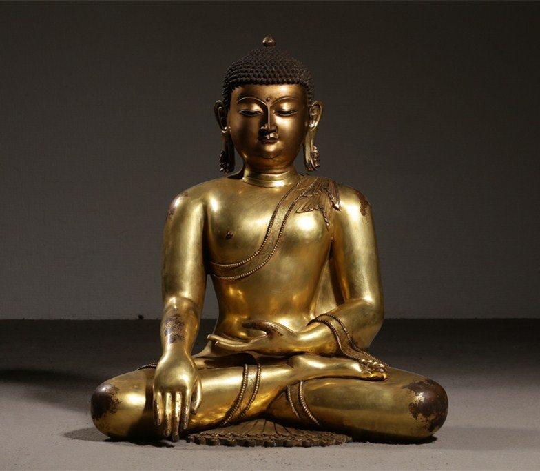 Large Chinese Gilt Qing  Bronze Seated Shakyamuni