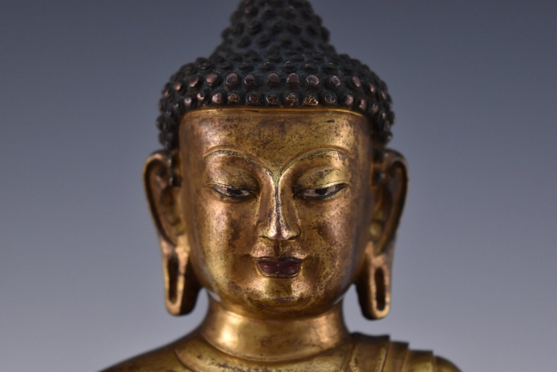 Yongle mark gilt bronze figure of sakyamuni buddha - 5