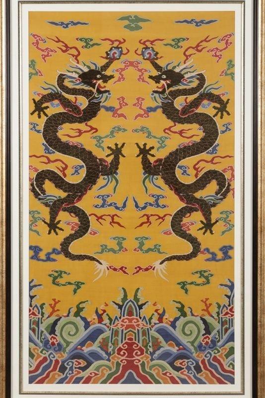 Chinese silk kesi dragon motif on yellow ground