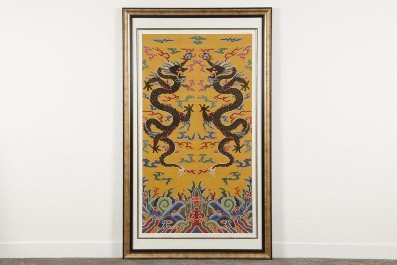 Chinese silk kesi dragon motif on yellow ground - 3
