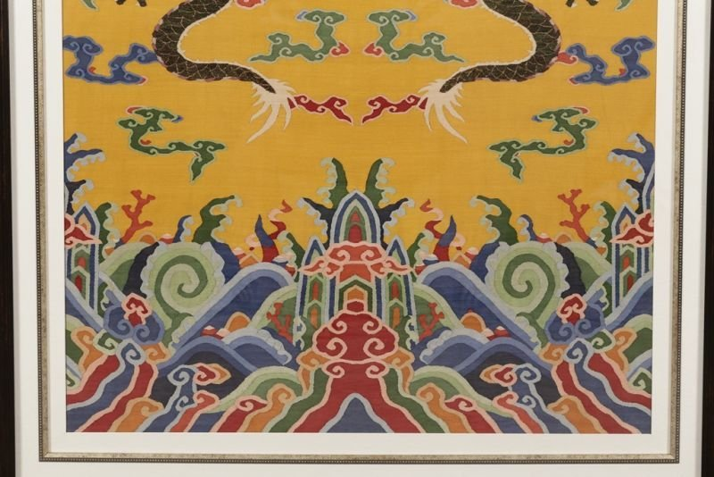 Chinese silk kesi dragon motif on yellow ground - 5