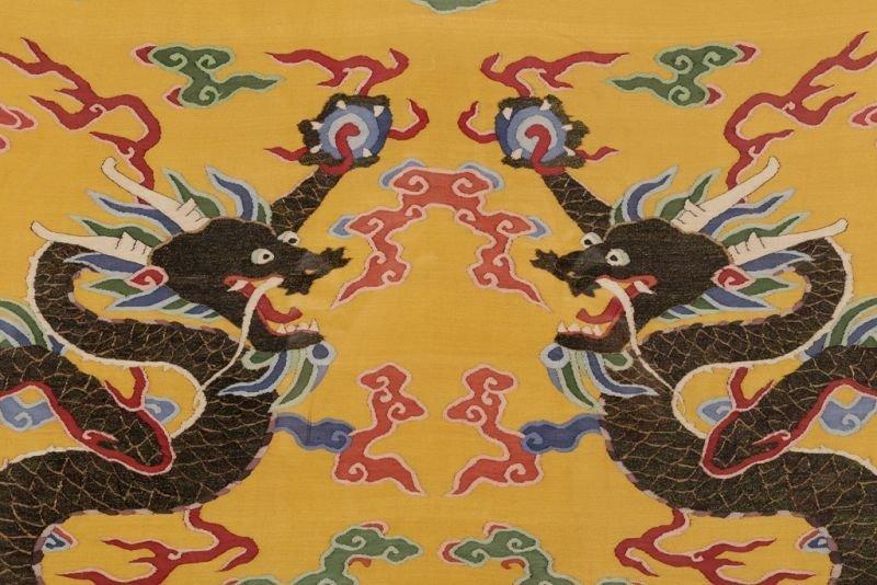 Chinese silk kesi dragon motif on yellow ground - 6