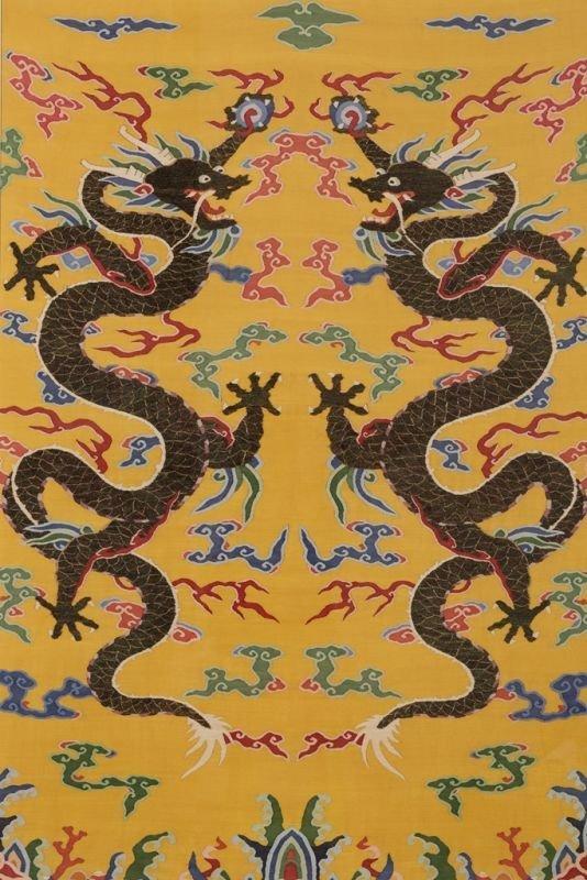 Chinese silk kesi dragon motif on yellow ground - 7
