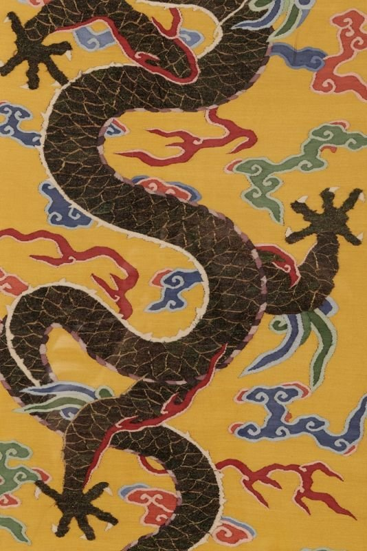 Chinese silk kesi dragon motif on yellow ground - 8