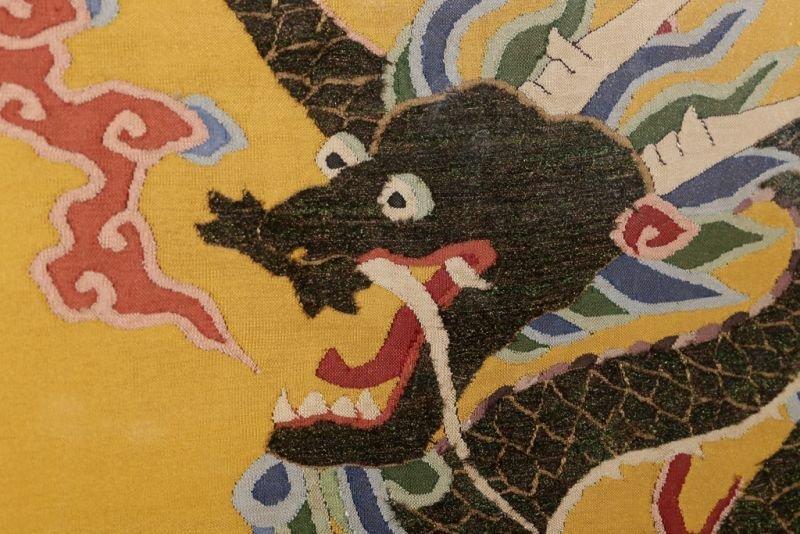 Chinese silk kesi dragon motif on yellow ground - 9