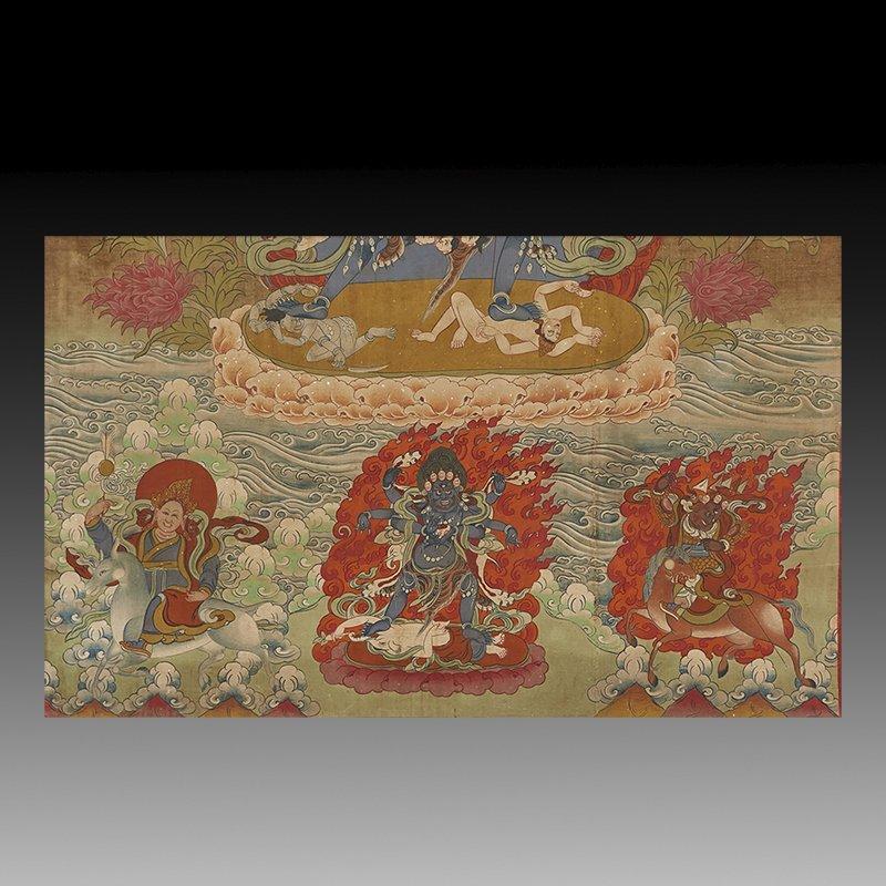 Antique Tibetan Hand Painted Thangka - 5