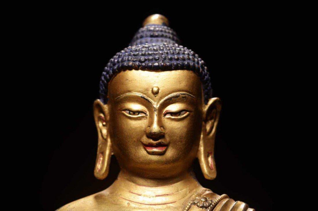 Chinese Qing Dynasty Gilt  Bronze Seated Shakyamuni - 2