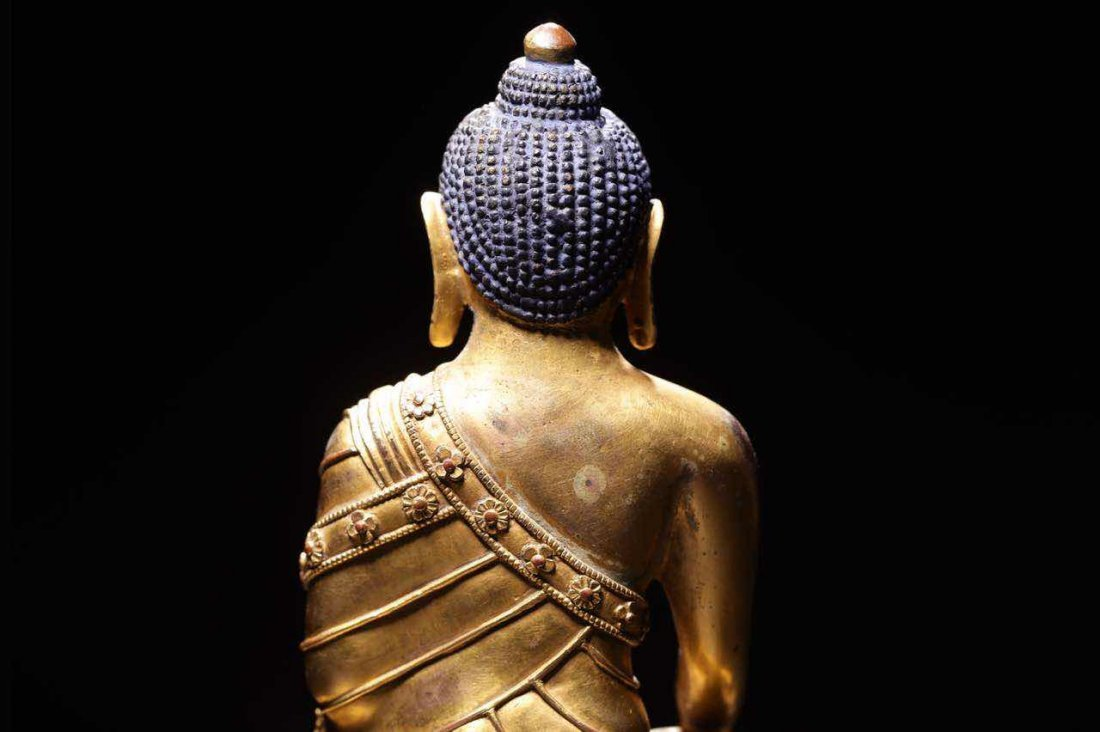 Chinese Qing Dynasty Gilt  Bronze Seated Shakyamuni - 3