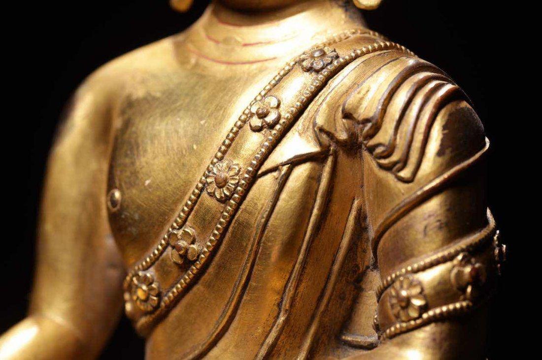 Chinese Qing Dynasty Gilt  Bronze Seated Shakyamuni - 4
