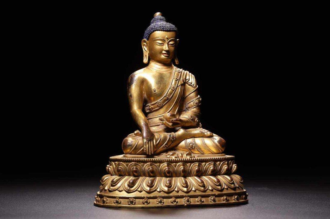 Chinese Qing Dynasty Gilt  Bronze Seated Shakyamuni - 6