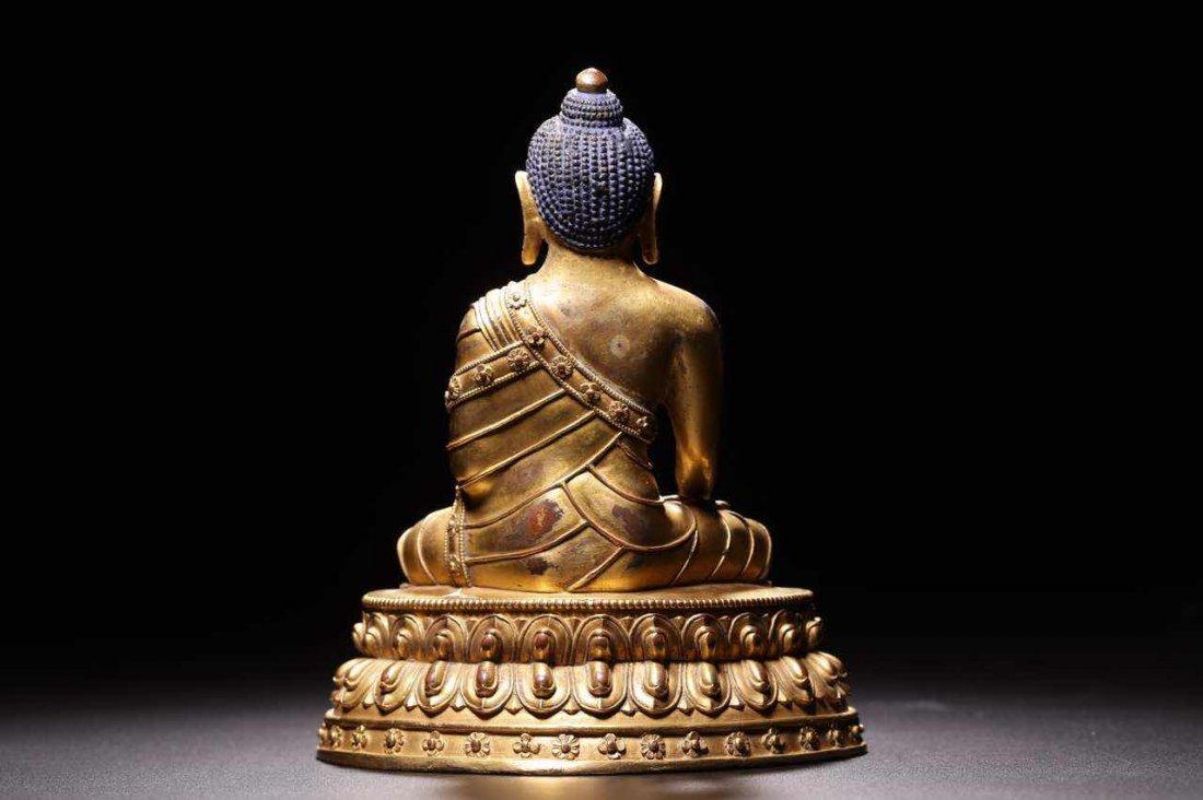 Chinese Qing Dynasty Gilt  Bronze Seated Shakyamuni - 7