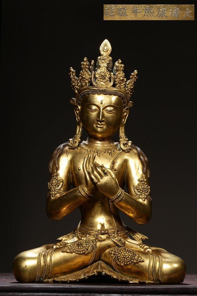 Chinese Qing Dynasty Gilt Bronze  White Tara
