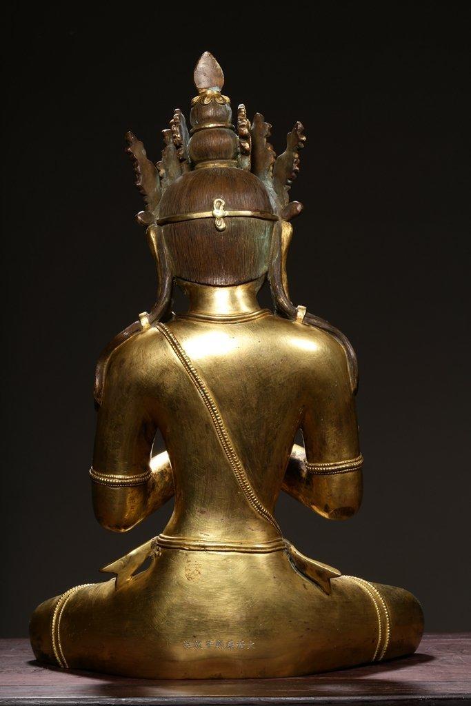 Chinese Qing Dynasty Gilt Bronze  White Tara - 6