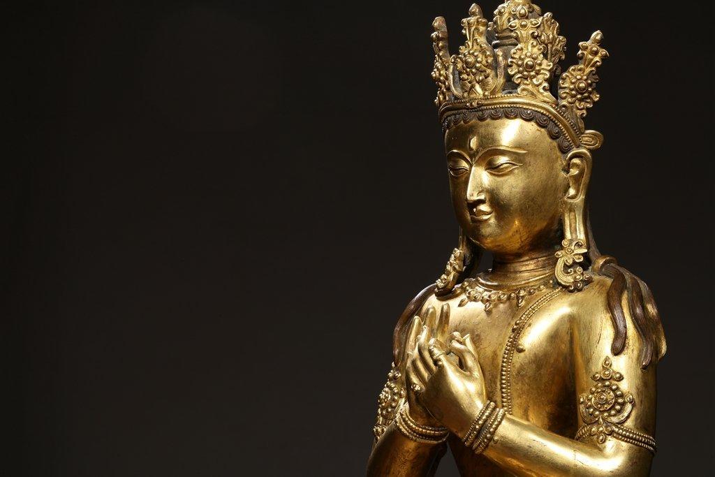 Chinese Qing Dynasty Gilt Bronze  White Tara - 8