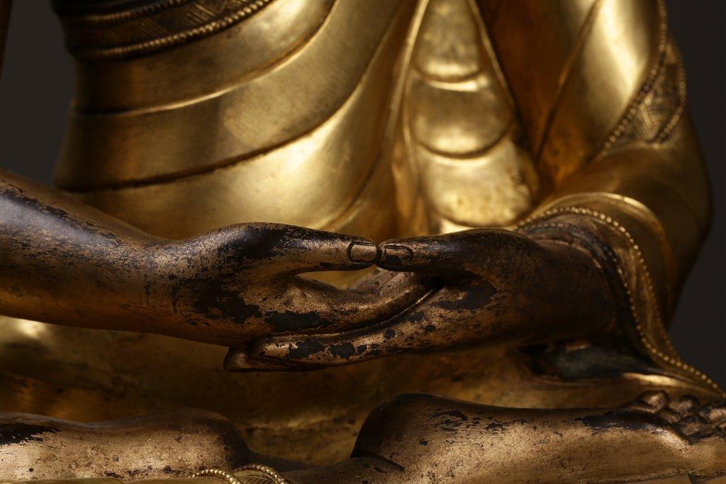 Chinese Qing Dynasty Gilt  Bronze Buddha Figure - 3