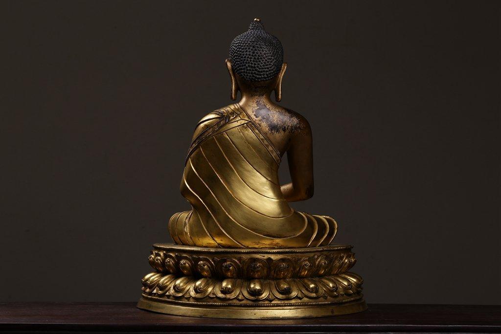 Chinese Qing Dynasty Gilt  Bronze Buddha Figure - 6