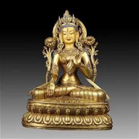 Large Chinese Qing Dynasty Gilt Bronze White Tara