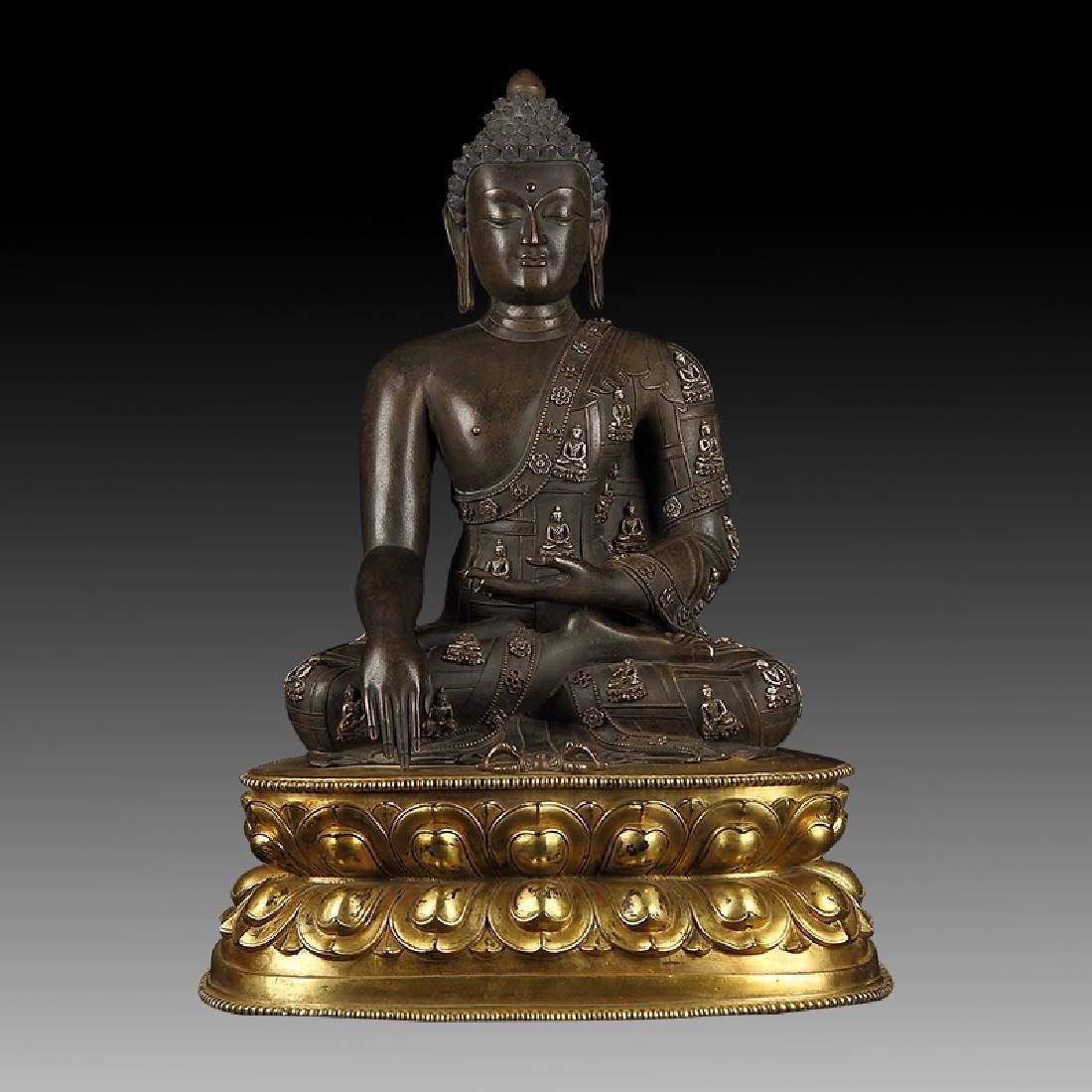 Large Chinese Qing Dynasty Gilt Bronze Shakyamuni