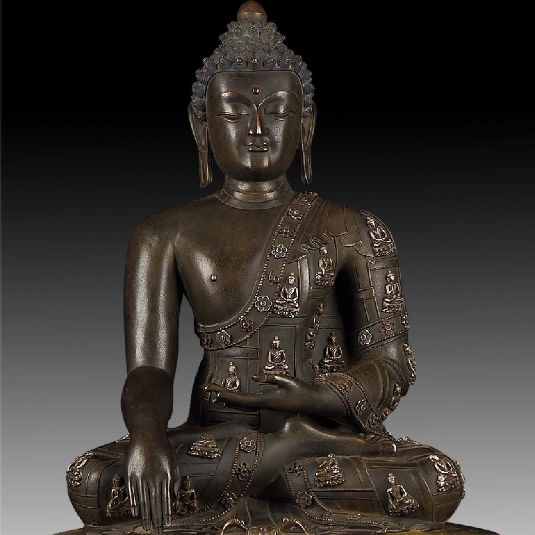 Large Chinese Qing Dynasty Gilt Bronze Shakyamuni - 3