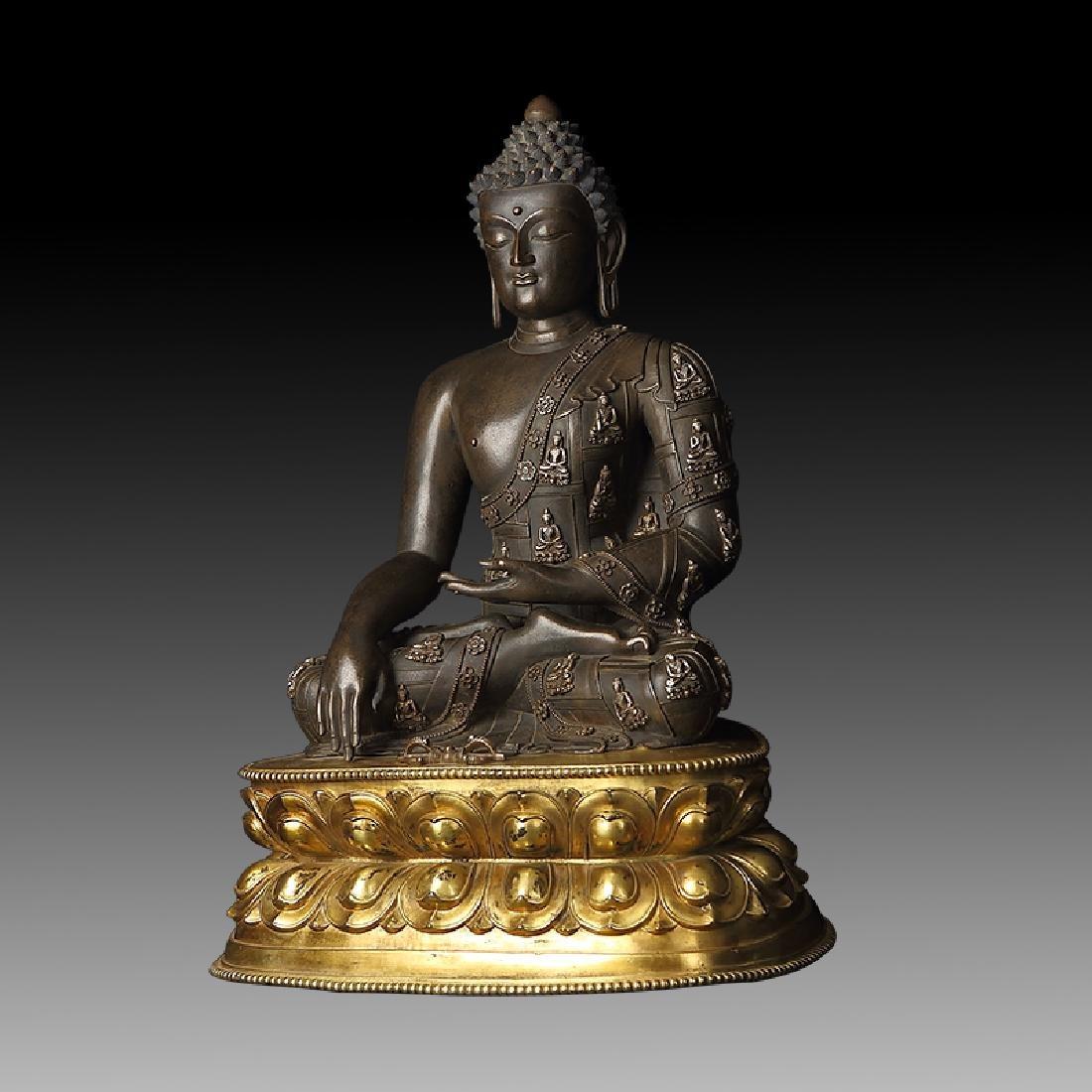 Large Chinese Qing Dynasty Gilt Bronze Shakyamuni - 4