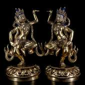 Pair of Chinese Ming Dynasty Gilt Bronze Buddha Figure