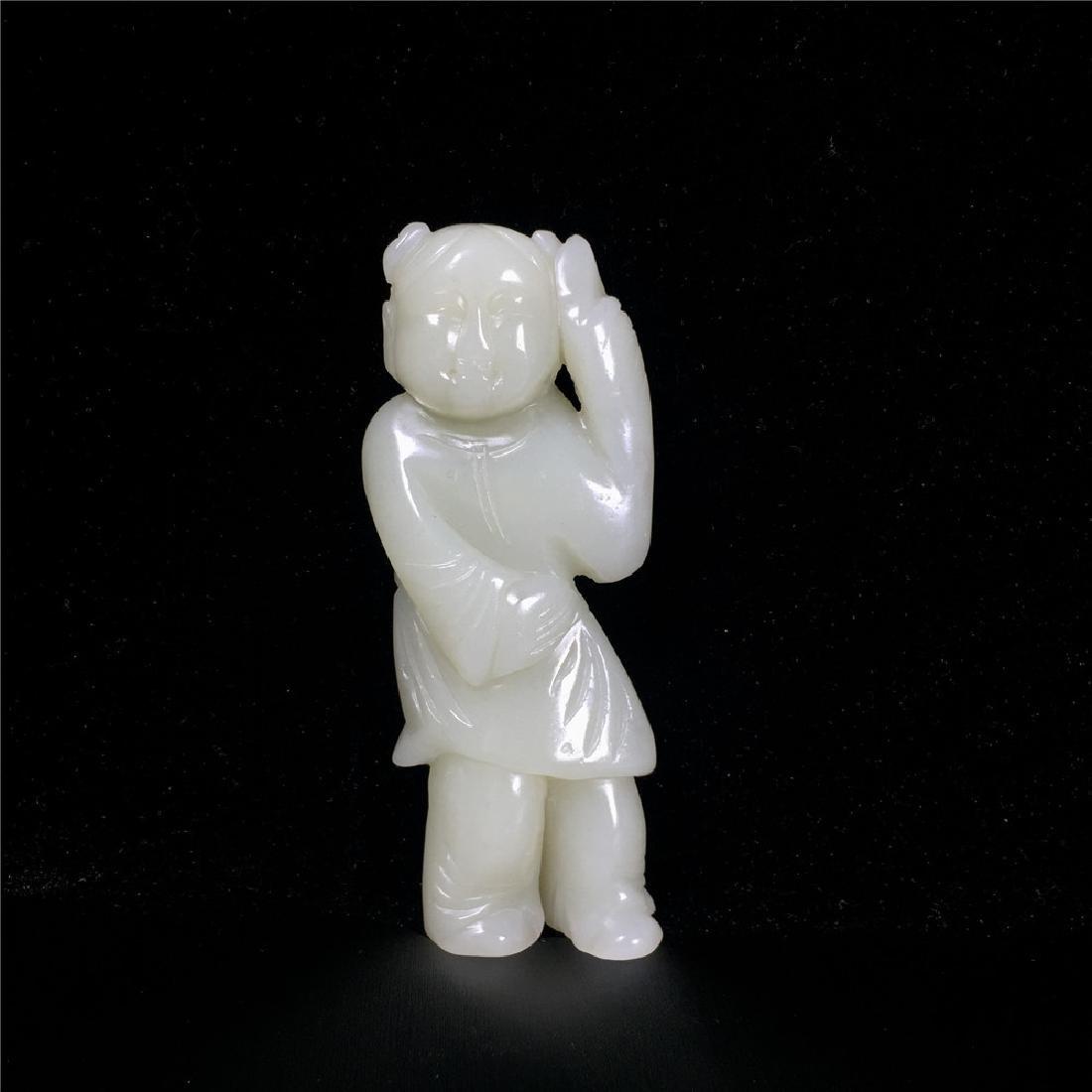 Chinese Qing Dynasty Hetian White Jade  Nephrite Statu.