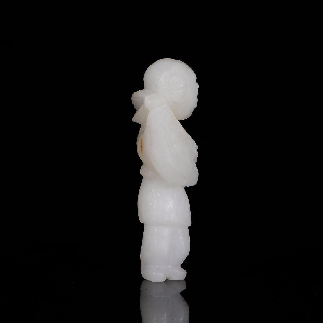 Chinese Qing Dynasty  Hetian White Jade  Nephrite Statu - 7