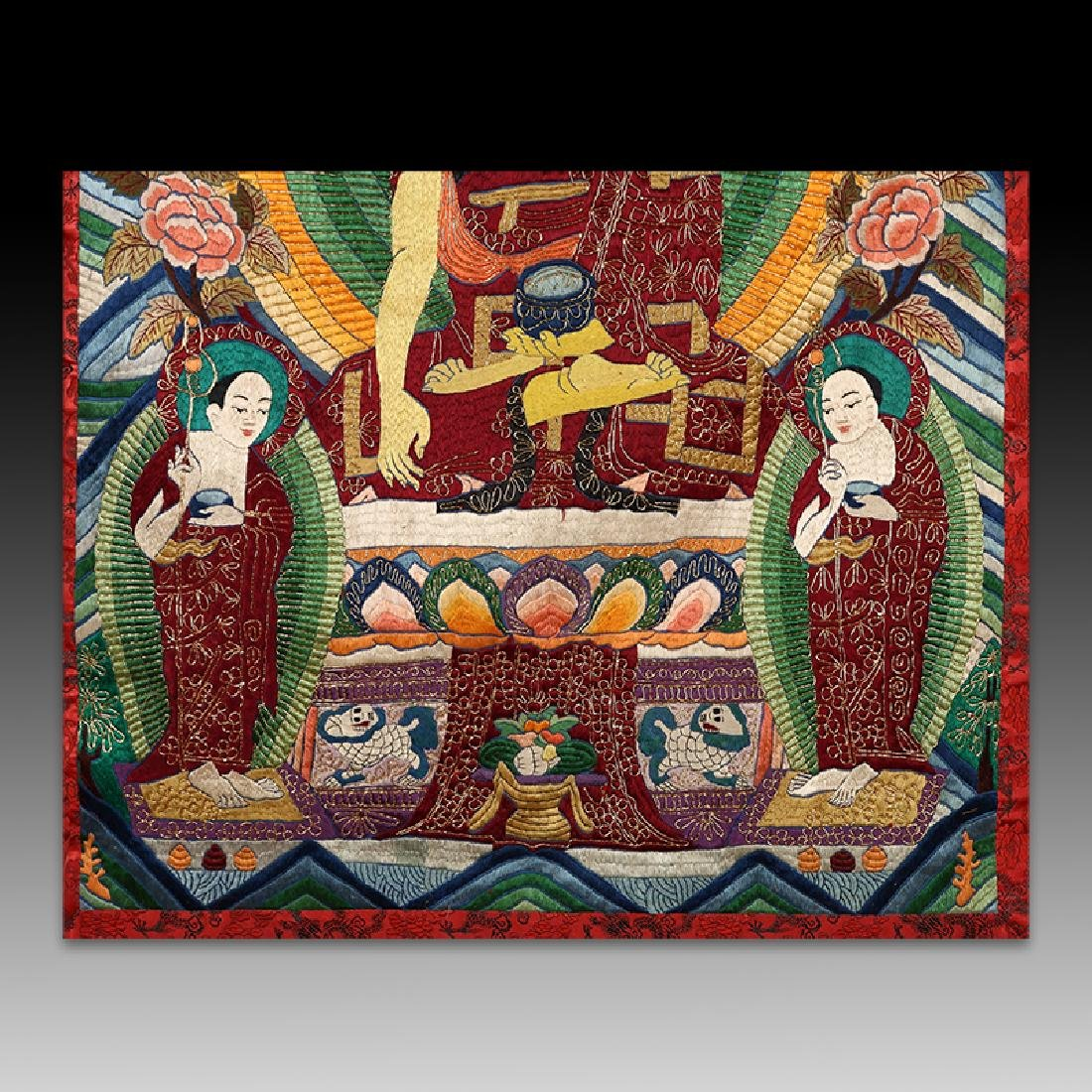 Chinese Qing Dynasty painted brocade mounts silk Thangk - 4