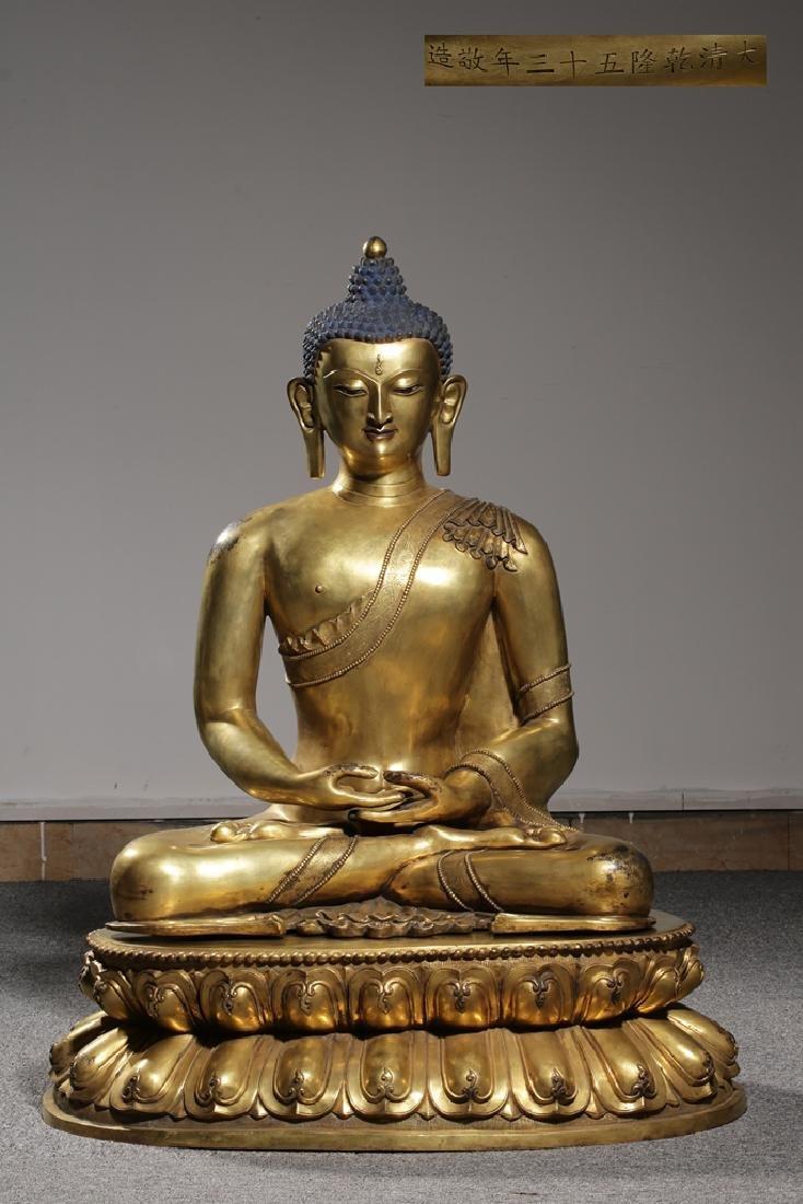 Large Chinese Qing Dynasty Gilt Bronze Buddha