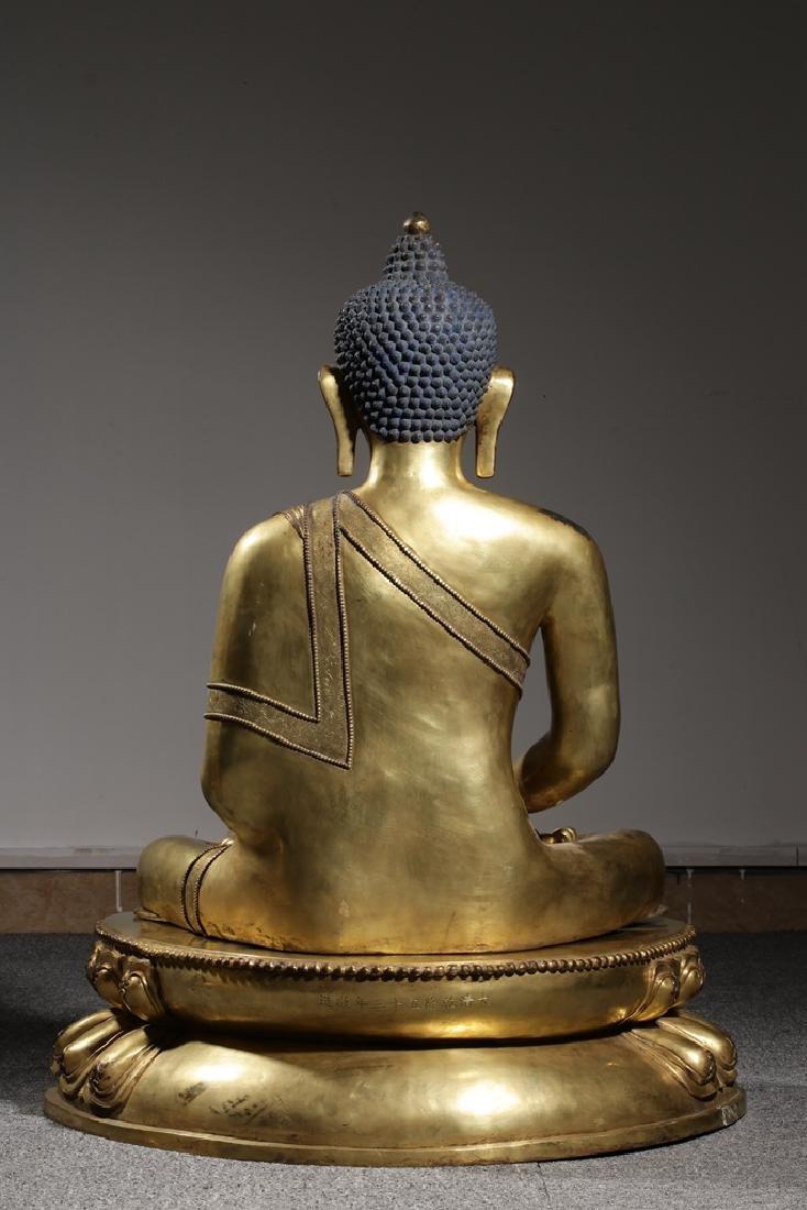 Large Chinese Qing Dynasty Gilt Bronze Buddha - 7