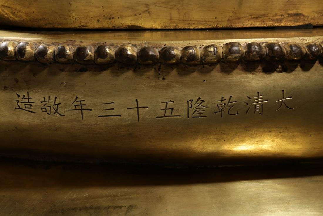 Large Chinese Qing Dynasty Gilt Bronze Buddha - 9