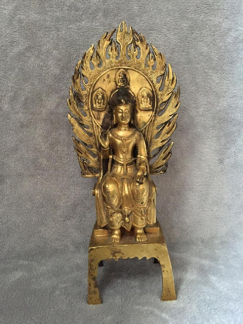 BRONZE GOLD GILT BUDDHA FIGURE