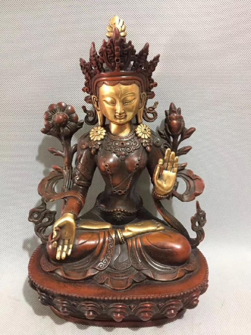 PORPHYRY COPPER GOLD GILT DUMU BUDDHA FIGURE