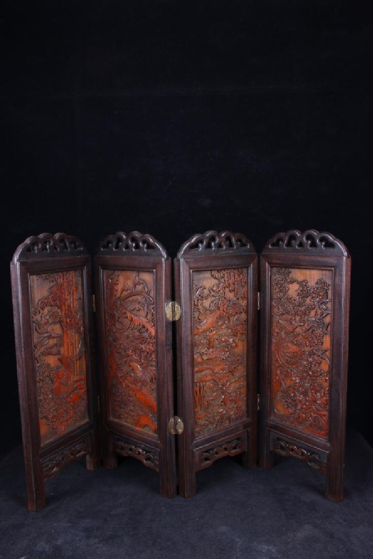 BAMBOO CARVED FOLDING SCREEN (FOUR)