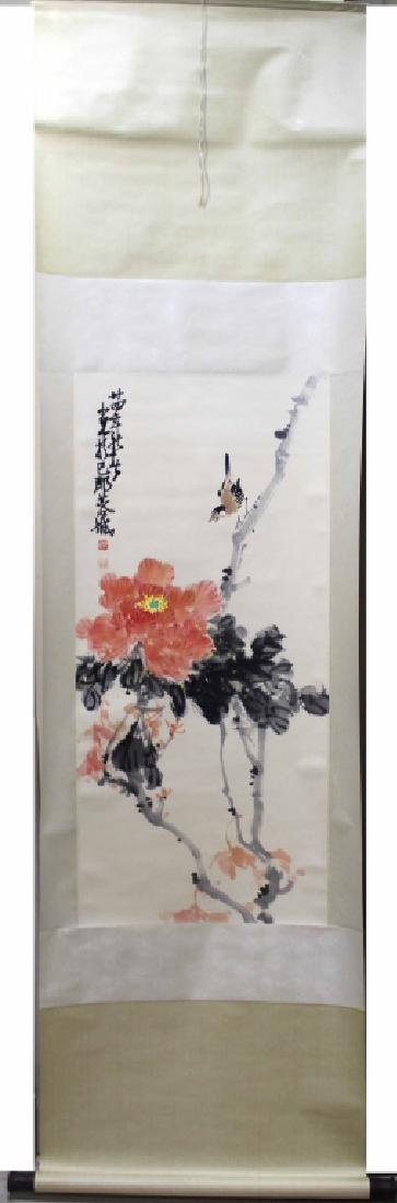 ZHAO SHAOANG FLOWERS AND BIRDS FINE HANGING SCROLL