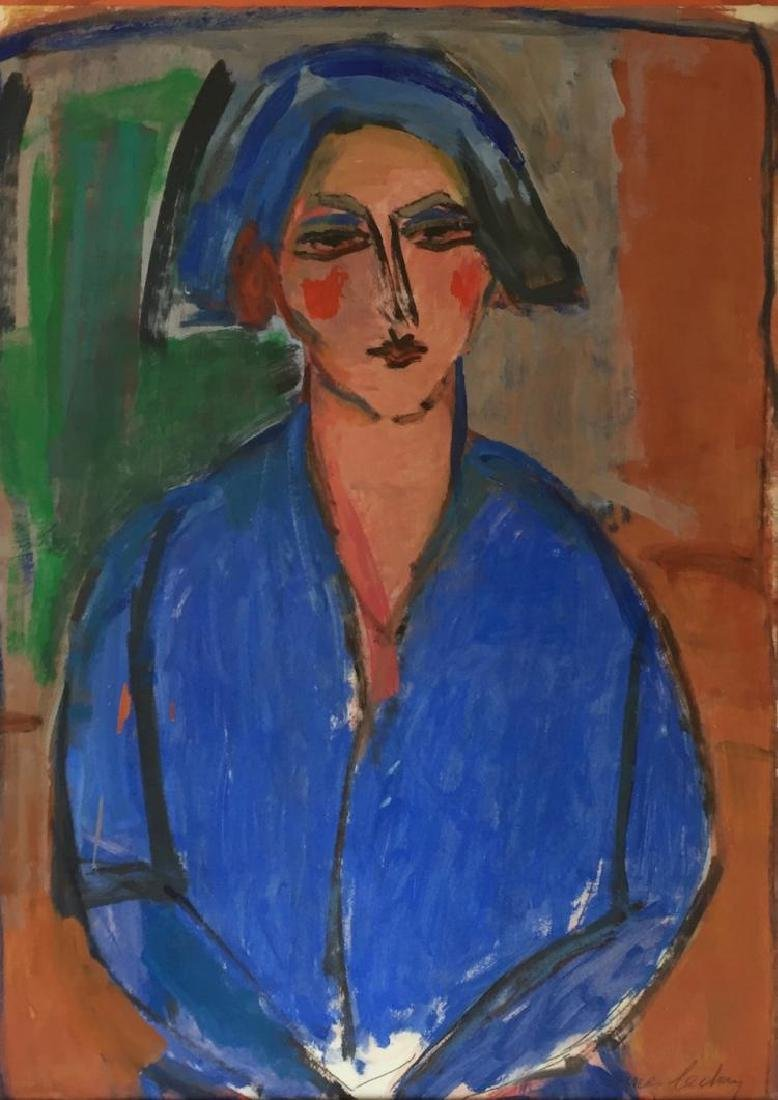 JAMES LECHAY (1907-2001), Woman in Blue, Oil on paper