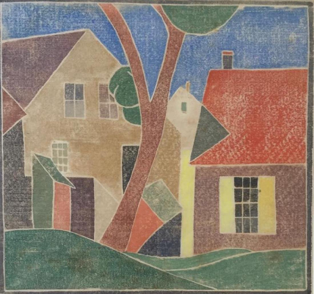 MARJORIE WINDUST (1908-1996), Untited (Houses), White-line woodblock print