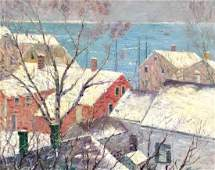 CALEB ARNOLD SLADE (1882-1961), Red House in Winter,