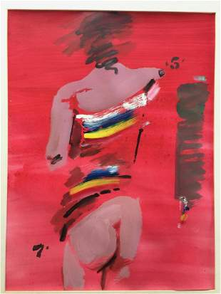 GIGLIO DANTE 19162007 Figure in Red Mixed media