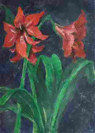 MERVIN JULES 19121994 Amaryllis Monoprint with oil