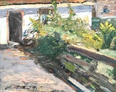 CHARLES W. HAWTHORNE (1872-1930), Garden Fence, Oil on