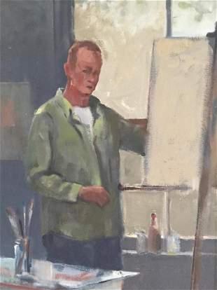 PROVINCETOWN SCHOOL 20th c Portrait of Artist Oil