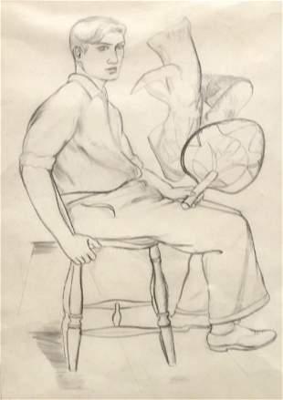 DOROTHY LOEB 18871971 Boy with Fan Graphite