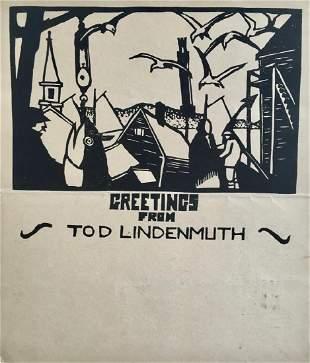 TOD LINDENMUTH (1885-1976), Greeting, Woodblock print